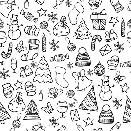 illustration seamless pattern .Doodle merry christmas elements happy new year holiday celebration Christmas ball knitted clothes, sweet bell snowman Christmas tree gift xmas Illustration