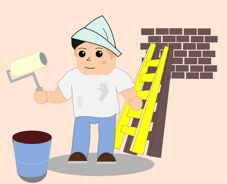 Painter-Wallpainter Vektoros illusztráció