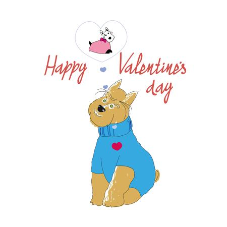 Dog Illustration for Valentine's day