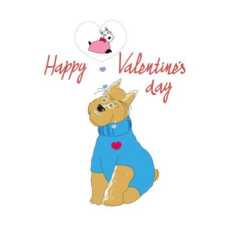 Hond illustratie voor Valentijnsdag Stock Illustratie