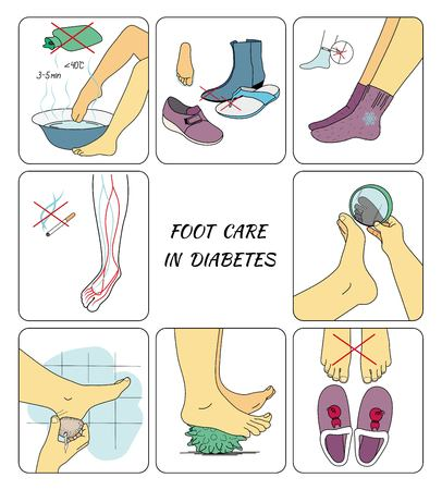 Preventive foot care in diabetes Stock Illustratie