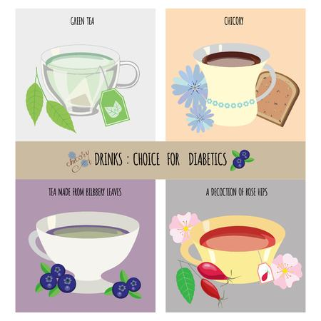 illustration drinks choice for diabetics Ilustração