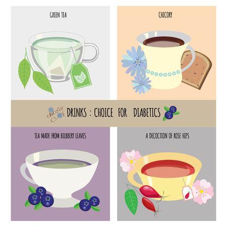 illustration drinks choice for diabetics Illustration