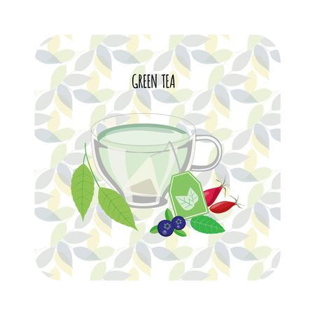 Set of hand drawn cups with green tea