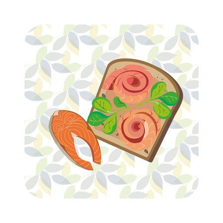illustratie van een toast met rode vis