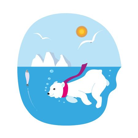 Illustration of a floating polar bear