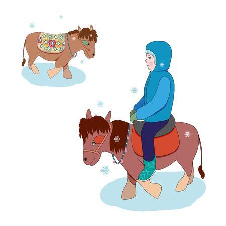 Illustratie die van de winter op een poney berijdt.