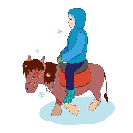 Jongen rijden op een pony.