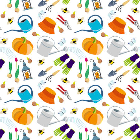 Seamless pattern on the theme of gardening. Background. Texture. Rest and gardening. Garden tools and equipment. Harvest.