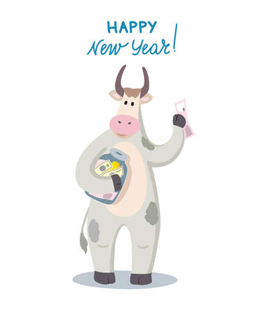 New year illustration with the symbol of the year of the bull. Holiday greeting card