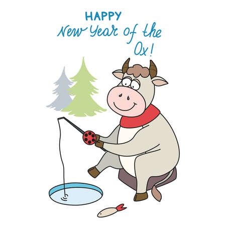 Vector illustration on the theme of the symbol of the new 2021 year of the Ox. Greeting card. Happy New Year 向量圖像