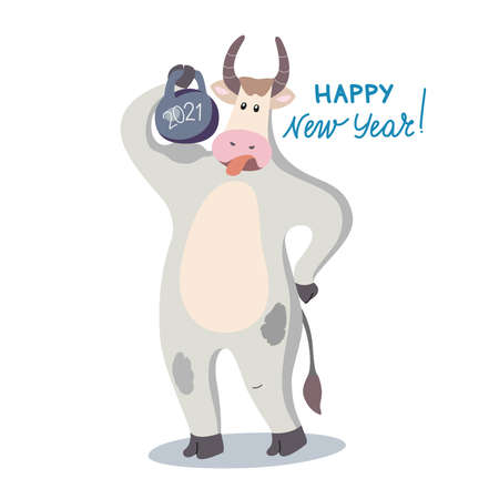 Vector illustration with the bull symbol of 2021. Greeting card. Standing figure of a bull with a weight.