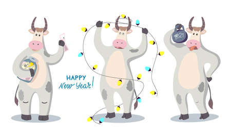 Vector illustration with the symbol of the New year 2021-a bull. Set of funny bulls.