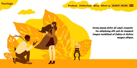 Autumn windy image for weather, season, climate concept. Young couple in windy day vector illustration. Landing page.