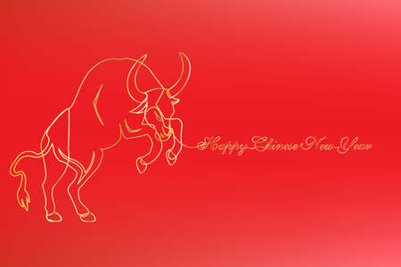 Golden line art character, simple hand drawing ox. Chinese new year 2021 year of the cow. (Chinese translation: Happy chinese new year 2021, year of cow).
