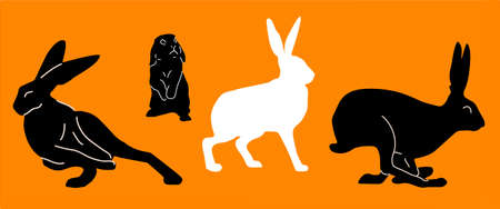 black and white silhouette of bunnies, rabbits