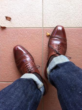 denim jeans: Leather burnished quarter brogues with denim jeans
