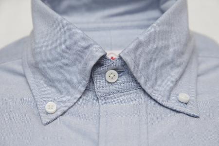 cotton fabric: A blue oxford cloth button down dress shirt
