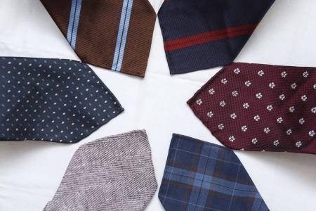 woven: Six handmade neckties arranged in a star