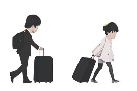 reiziger: paar reizen Stock Illustratie
