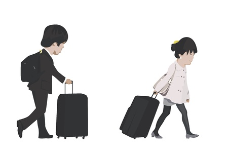 honeymoon: traveling couple Illustration