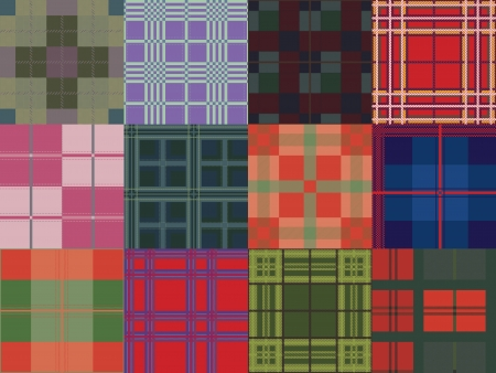 chequered drapery: Set of Plaid Patterns Illustration