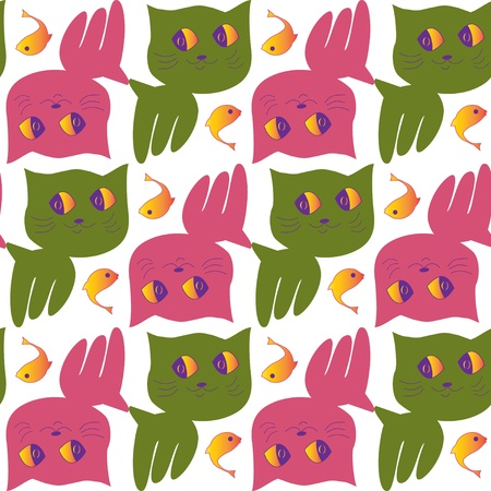 Cat and Fish Childrens Pattern Vector
