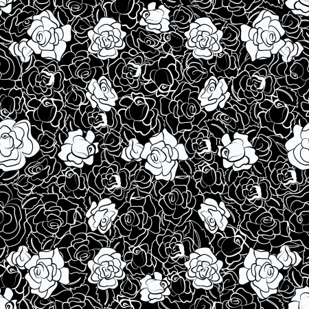 repeating pattern: Black and White Rose Repeating Pattern