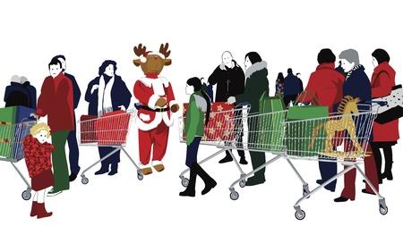 mujer en el supermercado: Compras de Navidad Vectores