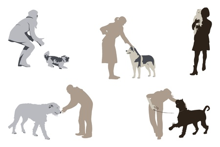husky: Dogs And Their People Illustration