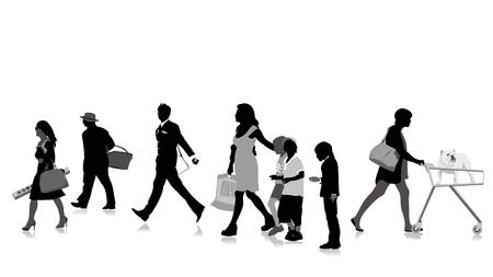 Shopper silhouetten, collectie voor ontwerpers Stock Illustratie