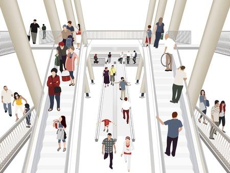 centro comercial: Personas en centro comercial Vectores