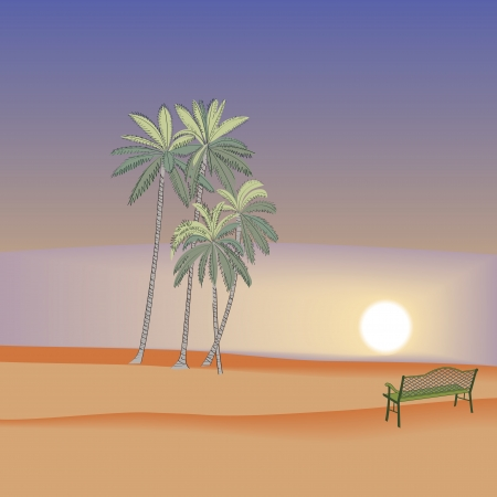 Beach palm tree sunset background Vector