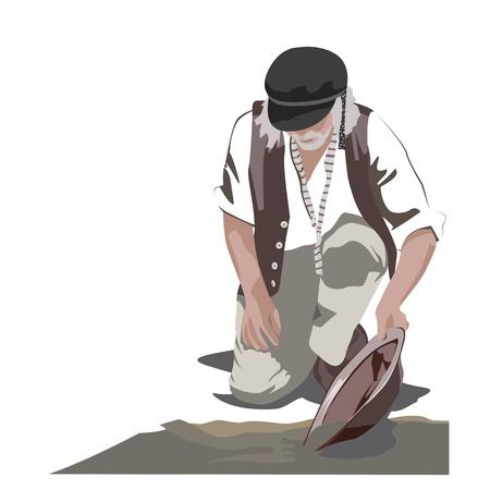 Gold Panning Man Illustration Illustration