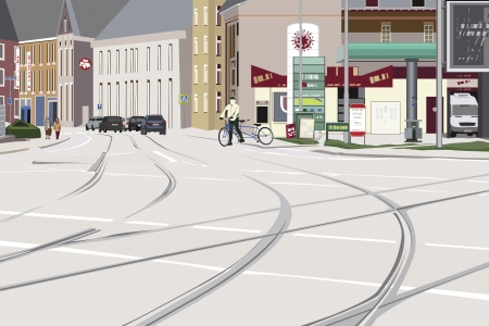 railroad crossing: Peaceful Cityscape