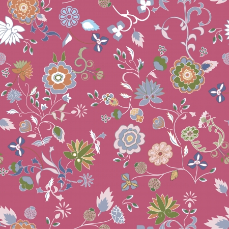 Old fashioned repeating floral pattern  Vector