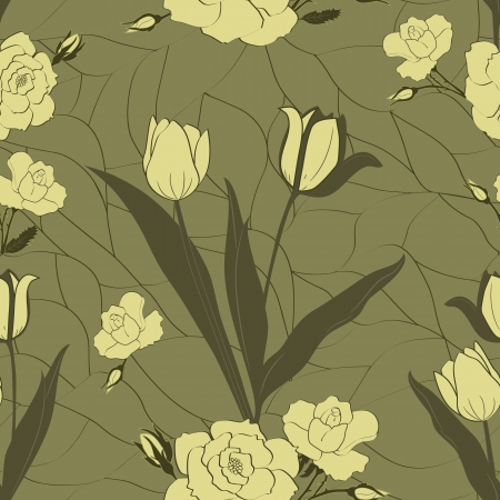 Repeating Pattern with Roses and Tulips Illustration