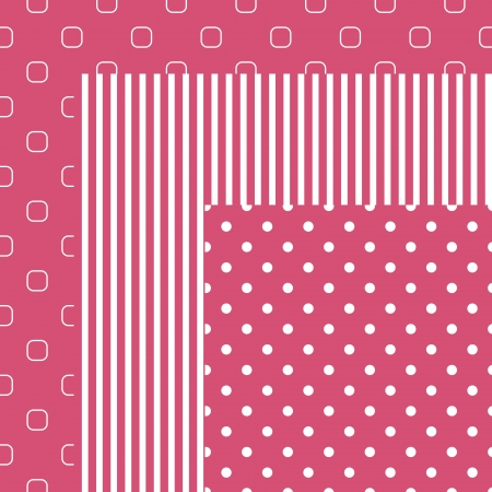 honeysuckle:  Three matching patterns in pink color  Illustration