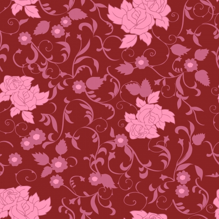 Pink seamless floral pattern  Vector