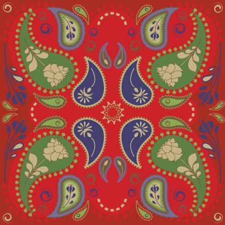 red bandana: Classic paisley bandana design Illustration