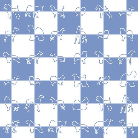 borzoi: Blue dog breeds pattern Illustration