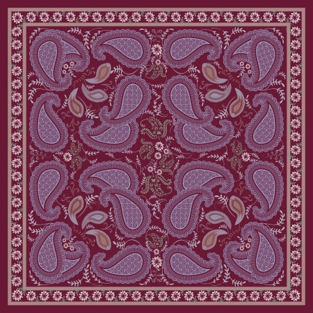 Burgundy Paisley Kerchief  Design Vector