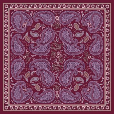 silk scarf: Burgundy Paisley Kerchief  Design