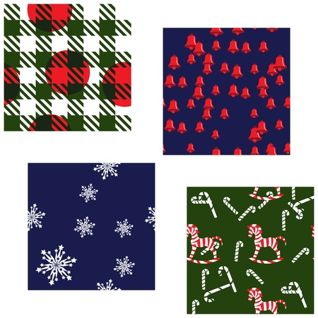 Four Matching Christmas Patterns Vector