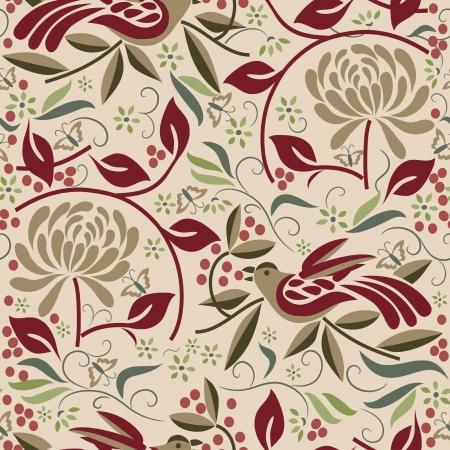 Naadloze Vogel en Berry Pattern