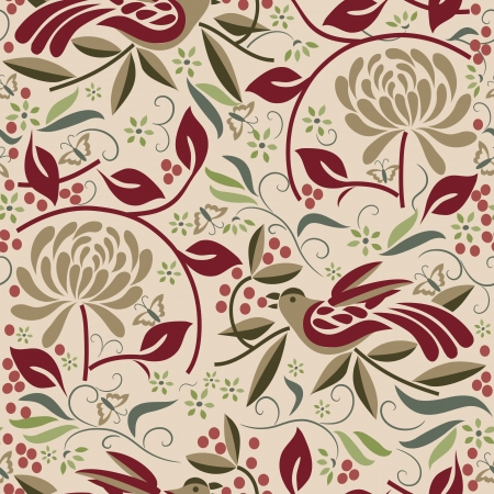 Seamless Bird and Berry Pattern Vector