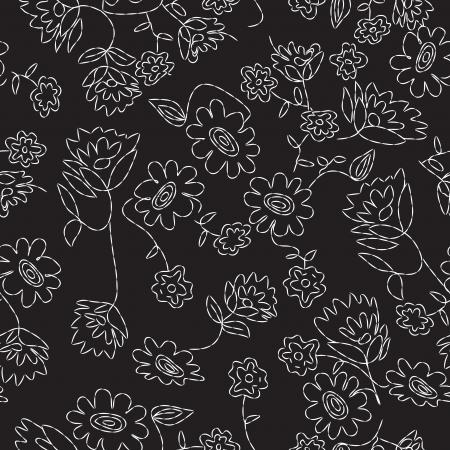 sketch pattern: Cosido Floral patr�n transparente Vectores
