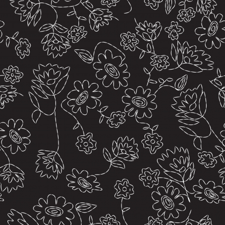 Stitched Floral Seamless Pattern Vector