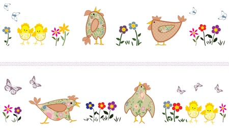 Two Spring Banners With Chicken And Butterflies  Vector