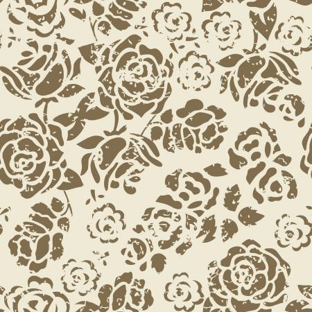 Grunge naadloze bloemmotief Stock Illustratie